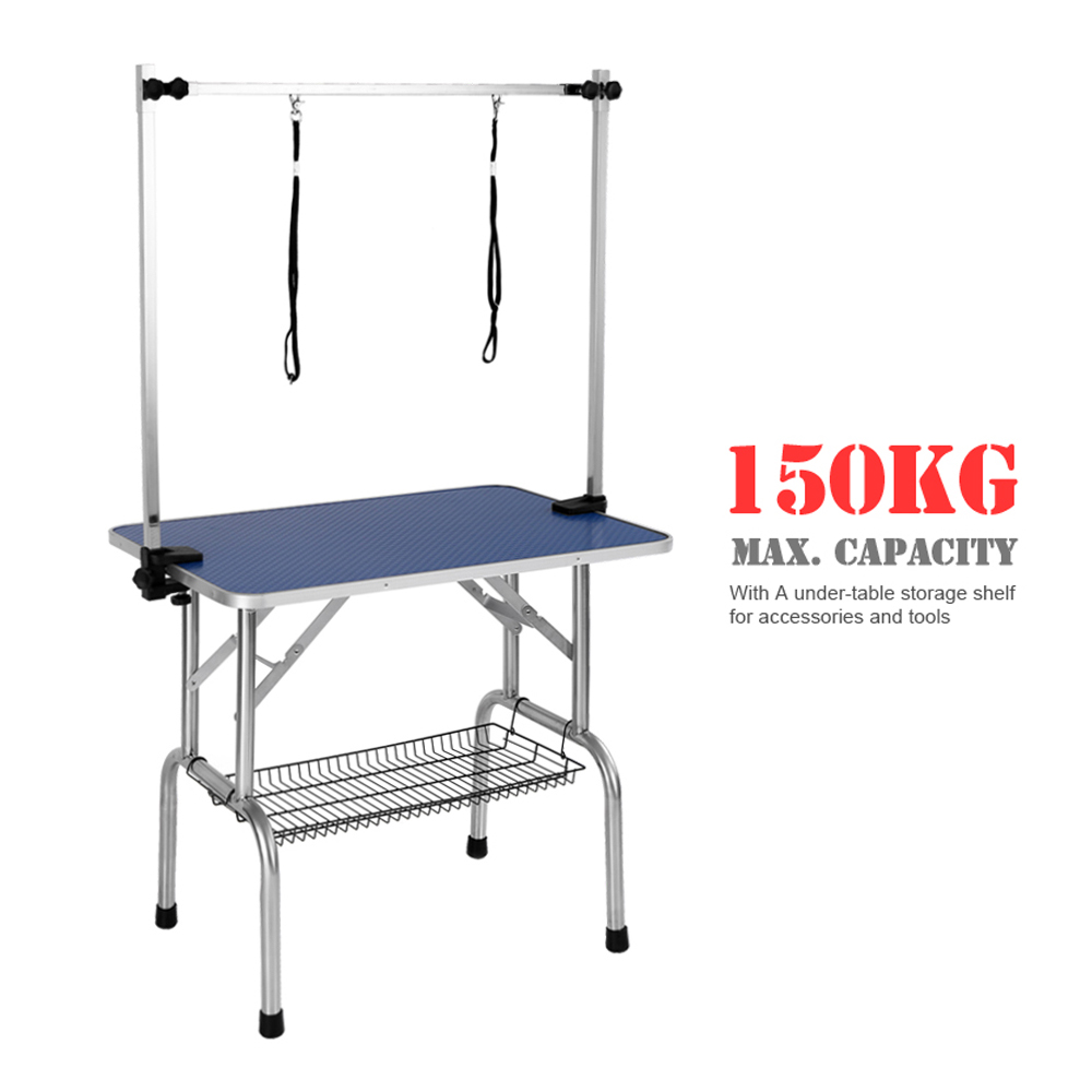 "iKayaa 36"" Large Folding Pet Dog Grooming Table W/ Arm & Noose & Shelf Heavy-Duty 150KG Capacity"