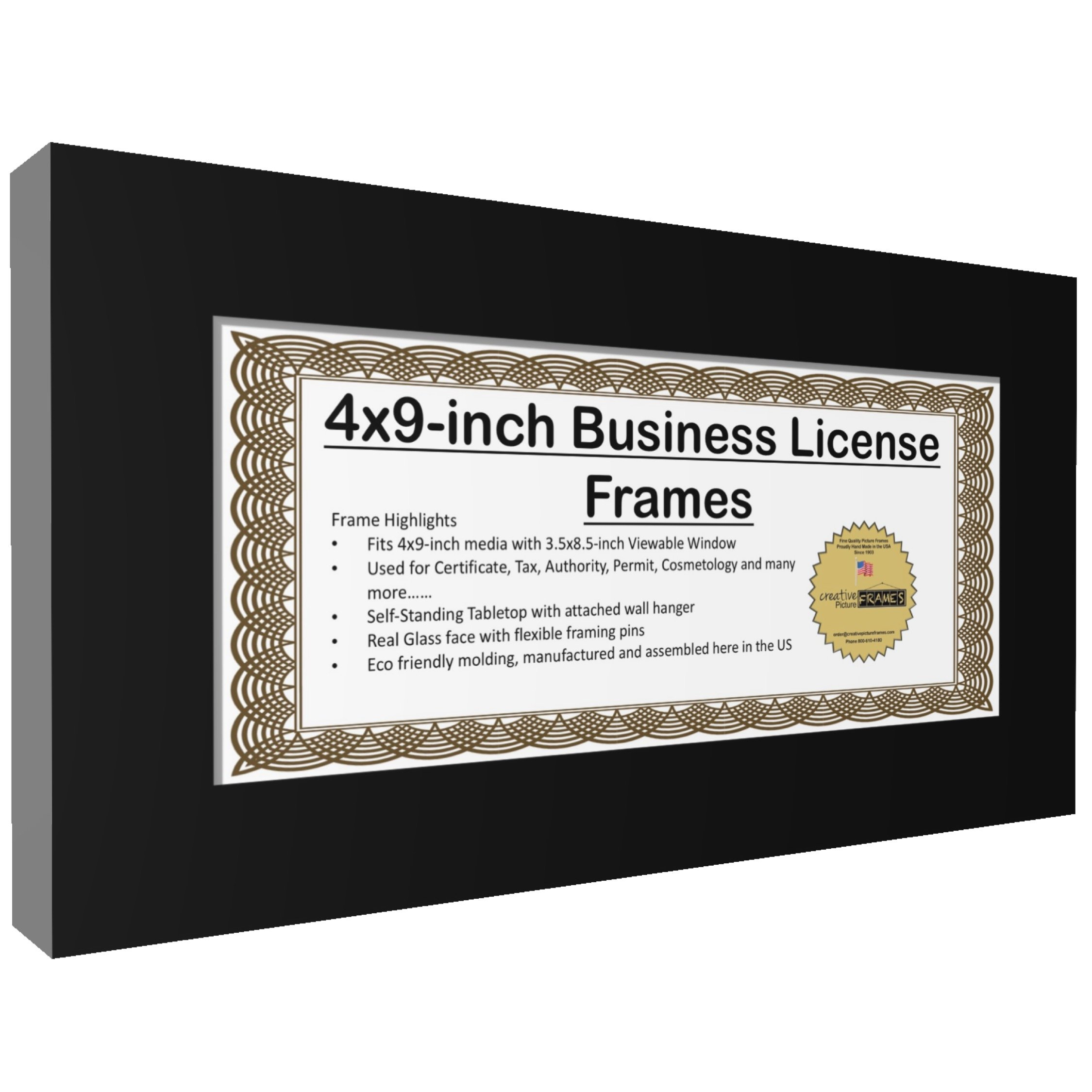CreativePF [4x9bk] Business License Frame with Self Standing Easel ...