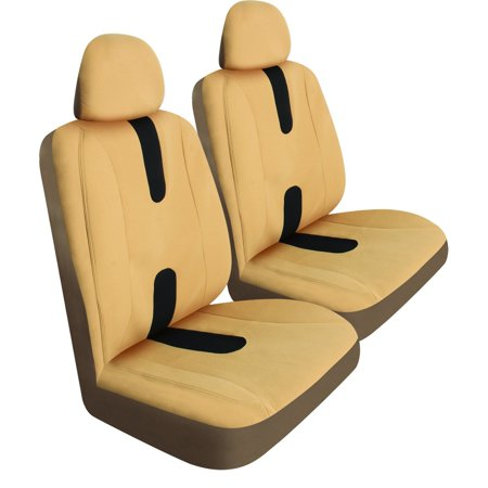 Honda Accord Seat Cover, Low Back Tan Universal Auto Front Seat Covers, Set Of 2 ()