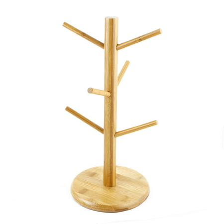 Uxcell Household Bamboo Hanging Display Coffee Tea Glass Cup Holder Bracket Mug Tree