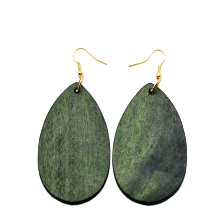 StylesILove Womens Girls Fashion Teardrop Shaped Wood Dangle Earrings (Olive)