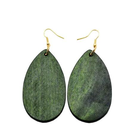 Purple Glass Teardrop Earrings - StylesILove Womens Girls Fashion Teardrop Shaped Wood Dangle Earrings (Olive)