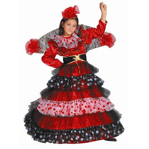 Dress Up America Flamenco Dancer Children's Costume