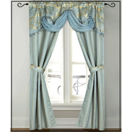 Dainty Home Patina Window Curtain Panel with Attached