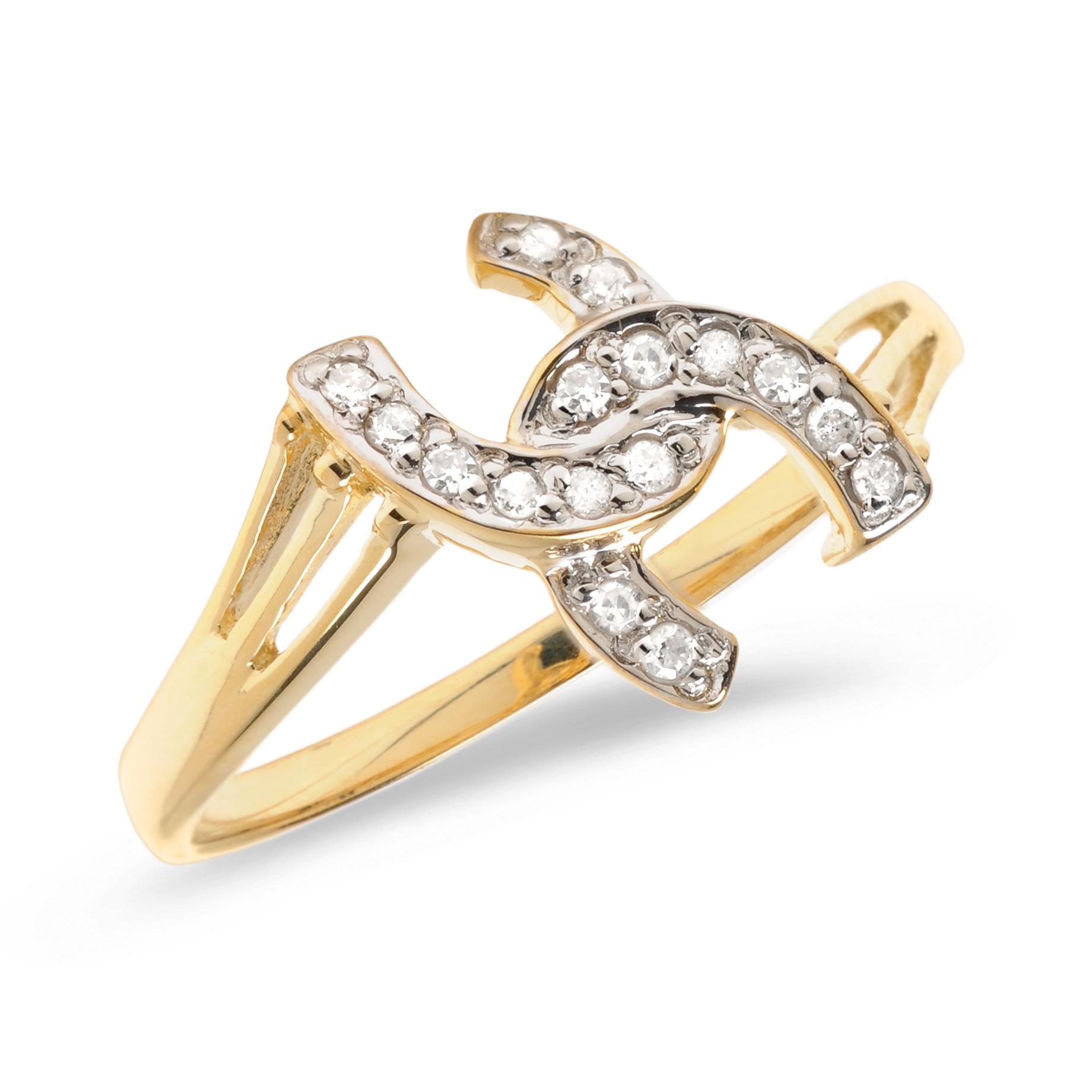 14K Yellow Gold Diamond Horseshoe Ring