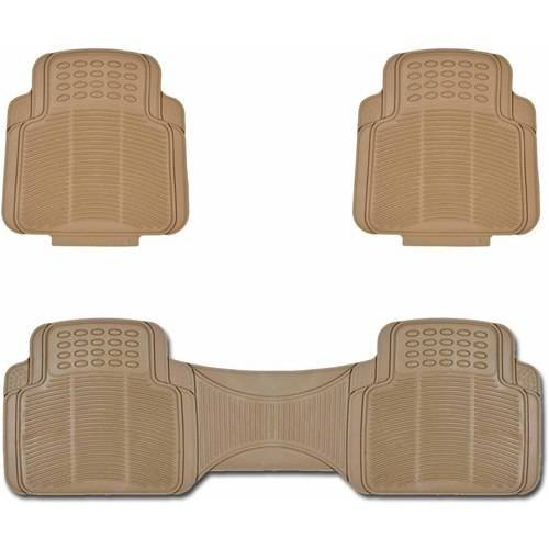 BDK Car Utility Rubber Mats, Trimmable to Fit, Black Beige Gray