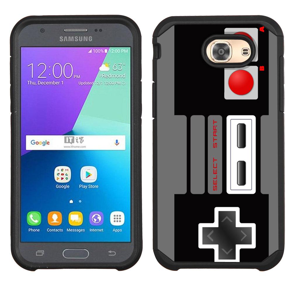 Hybrid Case for Samsung Galaxy J3 Luna Pro 4G LTE / J3 Eclipse, OneToughShield ® Dual Layer Shock Absorbing Phone Case (Black) - Game Controller