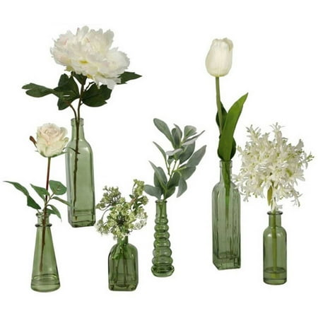 Dw Silks Set Of 6 Green Glass Vases With Tulips Peonies And