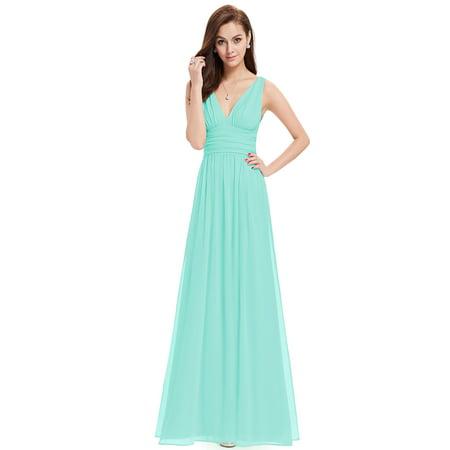 Ever-Pretty Women's Elegant Sleeveless V-Neck Semi-Formal Maxi Evening Party Dresses for Women 09016 (Aqua 4 US)