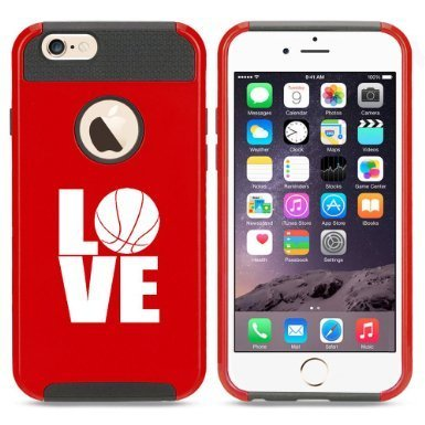 Apple iPhone 6 6s Hybrid Shockproof Impact Hard Cover / Soft Silicone Rubber Inside Case Love Basketball (Red)