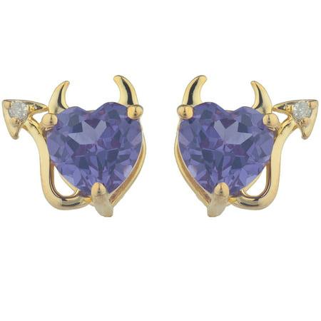 Alexandrite & Diamond Devil Heart Stud Earrings 14Kt Yellow Gold Plated ()