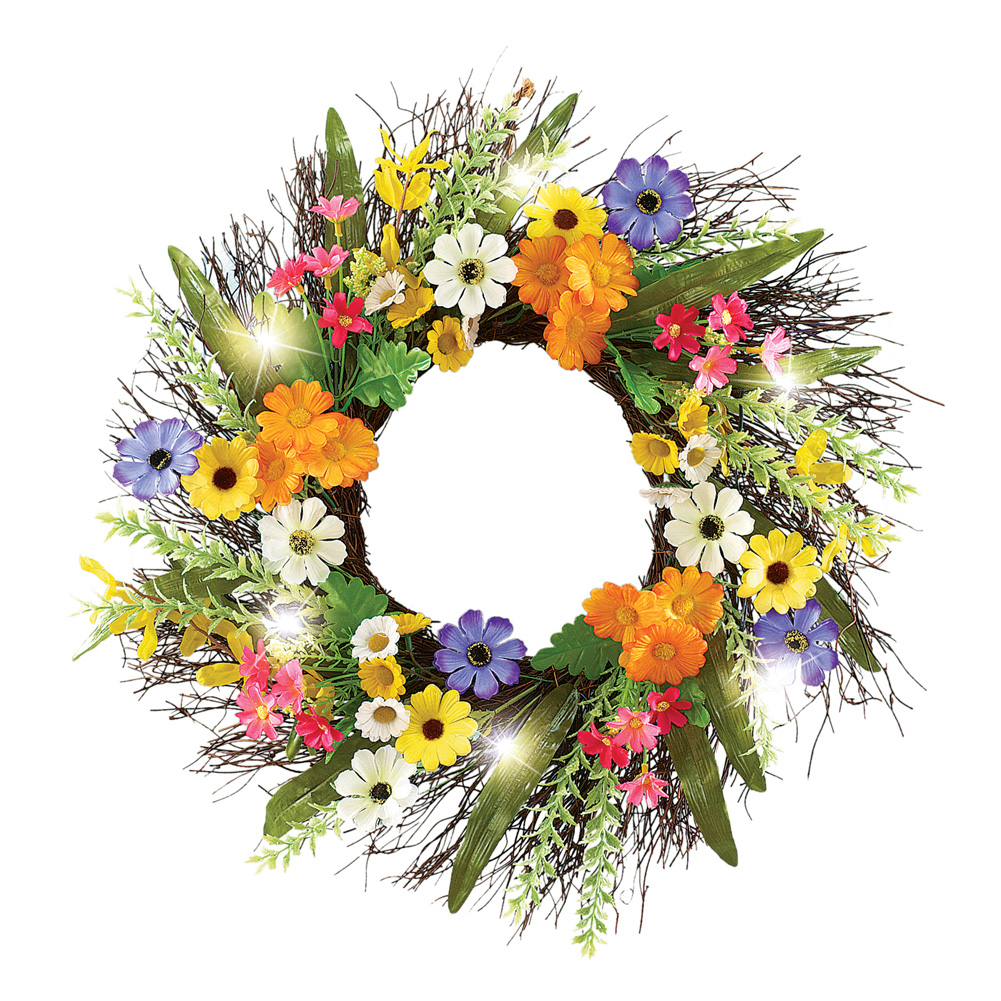 """Colorful Daisy Spring Floral Front Door Twig Wreath with Lights, 18"""""""