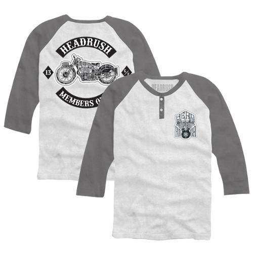 Headrush Members Only 3/4 Sleeve Henley - XL - White/Gray