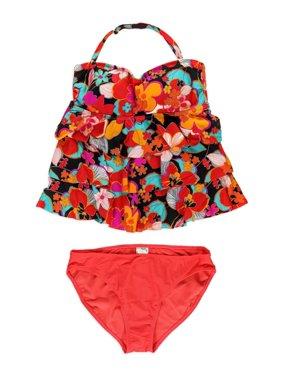 cb10e5e9512f3 Product Image Island Escape Womens Floral Tiered Shaper 2 Piece Tankini  multicoral 12