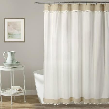 Adelyn Pom Shower Curtain Neutral 72 X