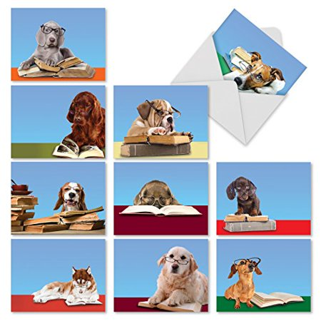 M2967 Reading Eye Dogs: 10 Assorted Thank You Note Cards Featuring Book Smart Puppies Wearing Eyeglasses, Stationery with Envelopes