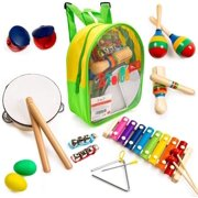 Stoie's 17 pcs Musical Instruments Set for Toddler and Preschool Kids Music Toy - Wooden Percussion Toys for Boys and Girls Includes Xylophone - Promotes Early Development and Educational