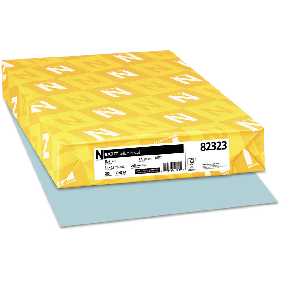 "Neenah Paper Exact Vellum Bristol Cover Stock, 67-Pound, 11"" x 17"", Blue, 250 Sheets"