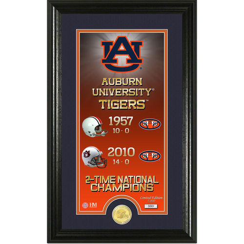 Auburn Tigers Official NCAA 21 inch  x 21 inch  Legacy Bronze Coin Panoramic Photo Mint by The Highland Mint