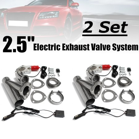 2 Set 2.5 inch Electric Exhaust Downpipe Cutout E-Cut Out Valve System Remote Kit Remote Cutout Universal Car Vehicle Auto SUV Truck 64mm US