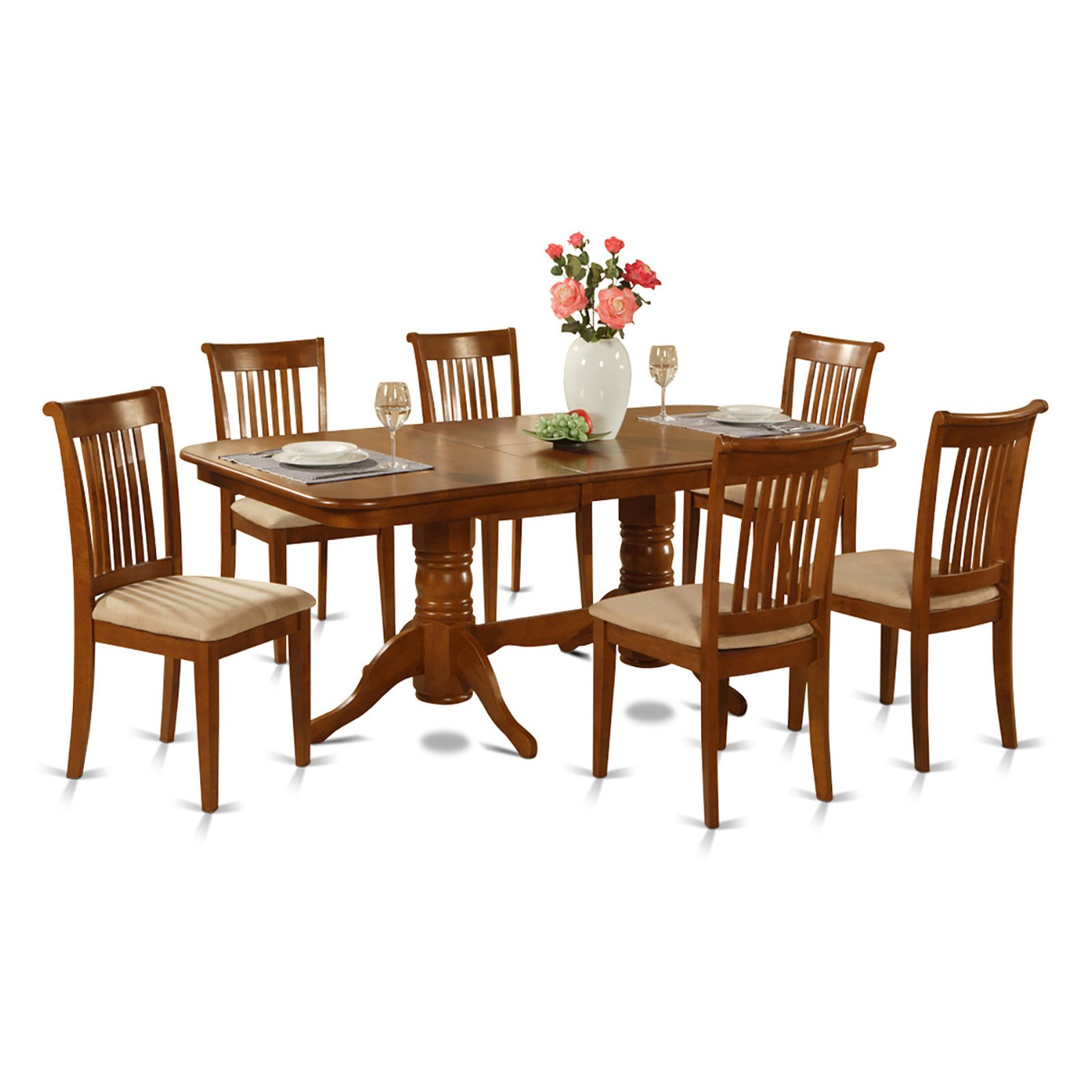 East West Furniture Kenley 7 Piece Dining Table Set with Portland Chairs
