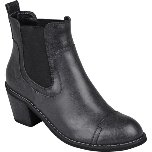 Brinley Co. Womens Round Toe Topstitched Ankle Boots