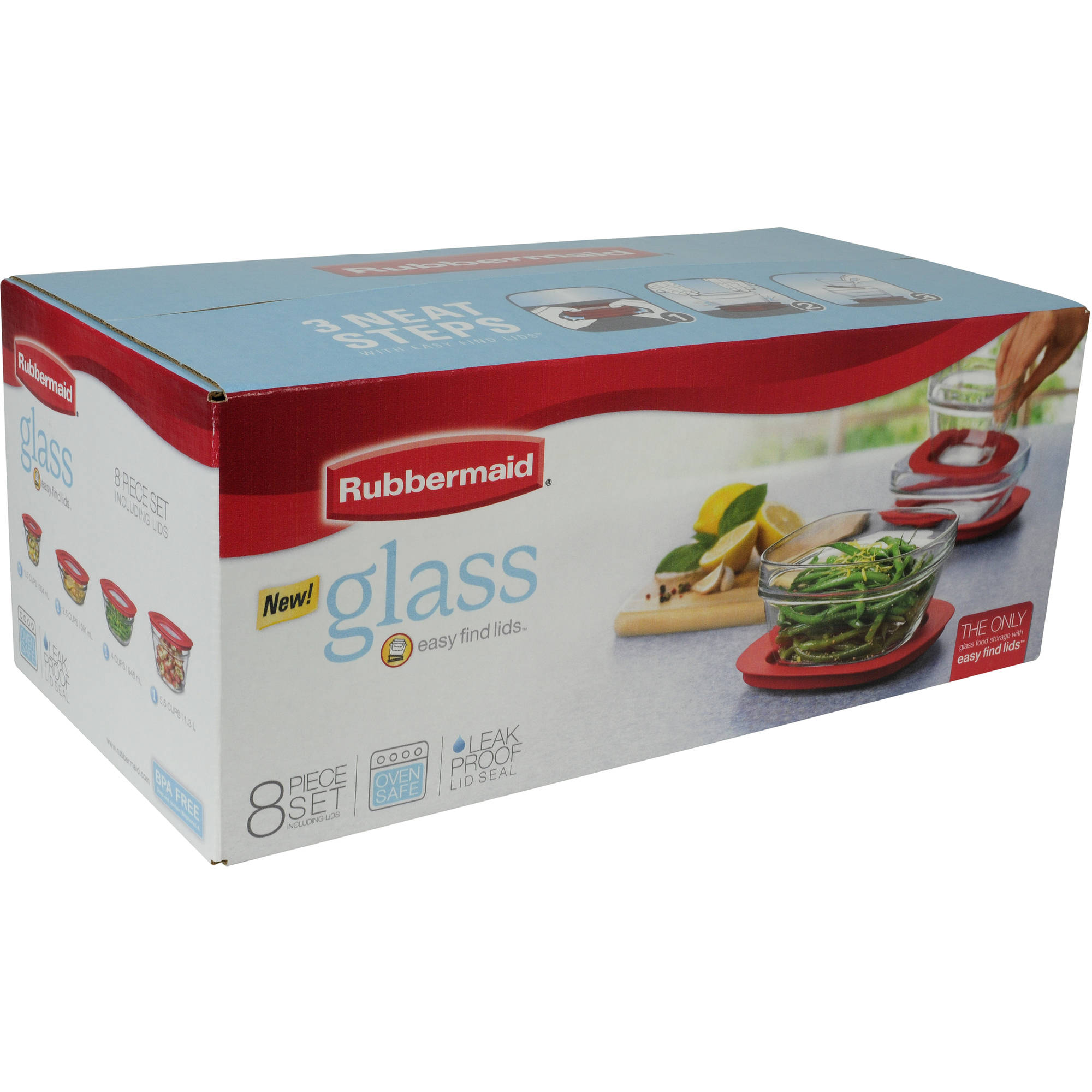Rubbermaid 8-Piece Glass Food Storage Set