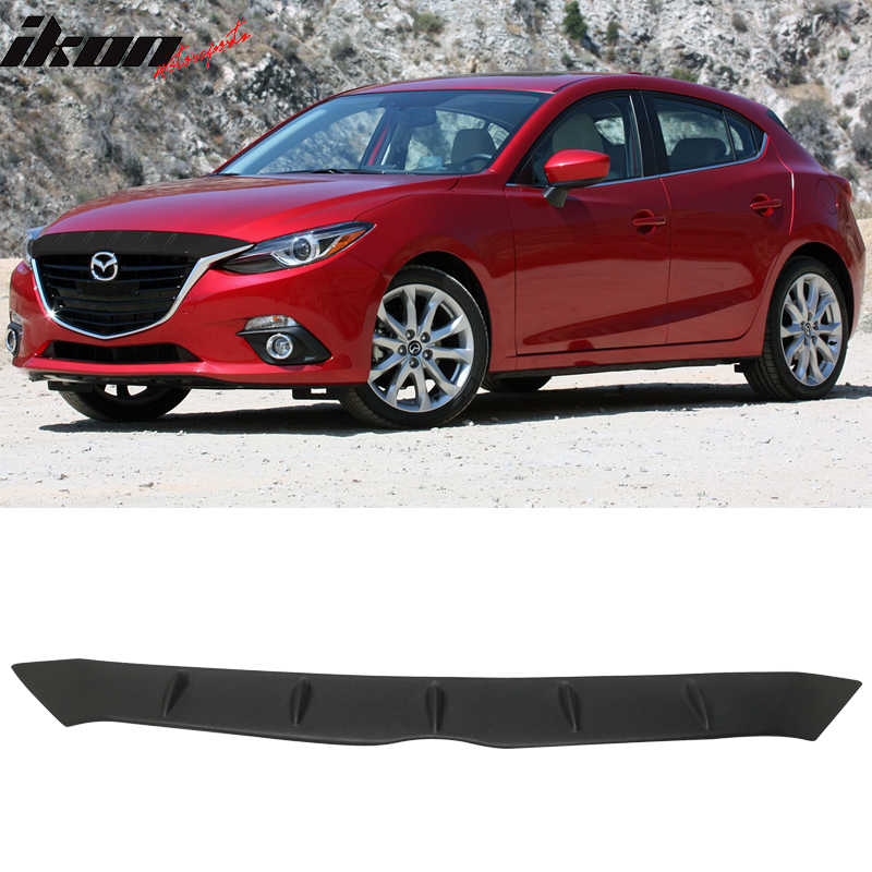 14-16 Mazda 3 Mazda3 FHS Style Painted Glossy Black Front Hood Cover - ABS