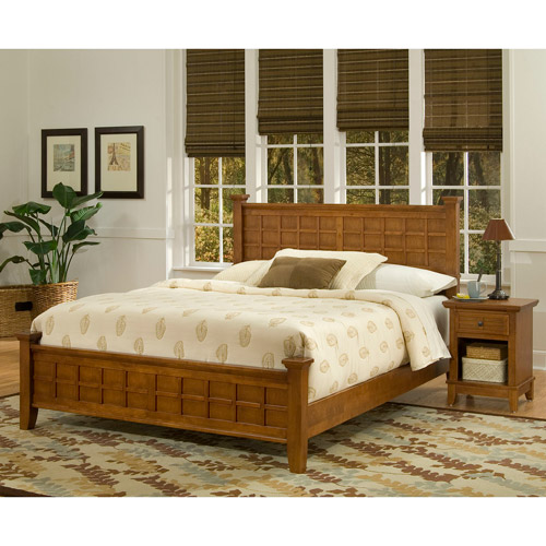Home Styles Arts and Crafts Queen Bed and Nightstand Furniture Set, Cottage Oak