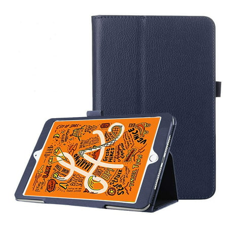 Epicgadget Case for iPad Mini 5 2019, Auto Wake/Sleep Slim Lightweight PU Leather Folding Stand Cover Case for iPad Mini 5th Generation 7.9 Inch Display (Navy