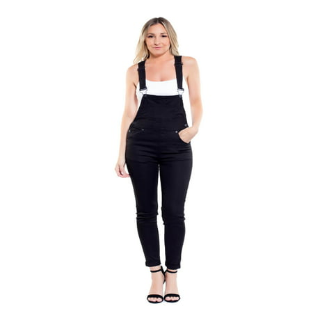 Made by Olivia Women's Women's Solid Color Skinny Overalls Black - Patch Overalls
