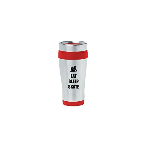 Red 16oz Insulated Stainless Steel Travel Mug Z1840 Eat Sleep Skate Ice Skates,MIP by