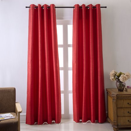 Shelton Faux Silk 54 x 84 in. Room Darkening Grommet Single Curtain Panel in Red