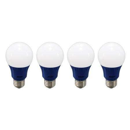 Energetic LED Color Light Bulbs, 3W (40W Equivalent), Blue, A19 Shape, E26 Base, UL Listed, 4-count