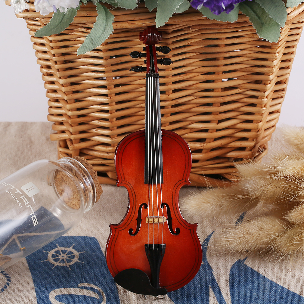 MG-250 Mini Musical Ornaments Wooden Craft Miniature Violin for Home Decor