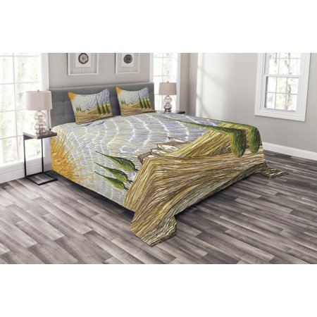 Italian Bedspread Set, Van Gogh Style Italian Valley Rural Fields with European Scenery Painting Print, Decorative Quilted Coverlet Set with Pillow Shams Included, Multicolor, by