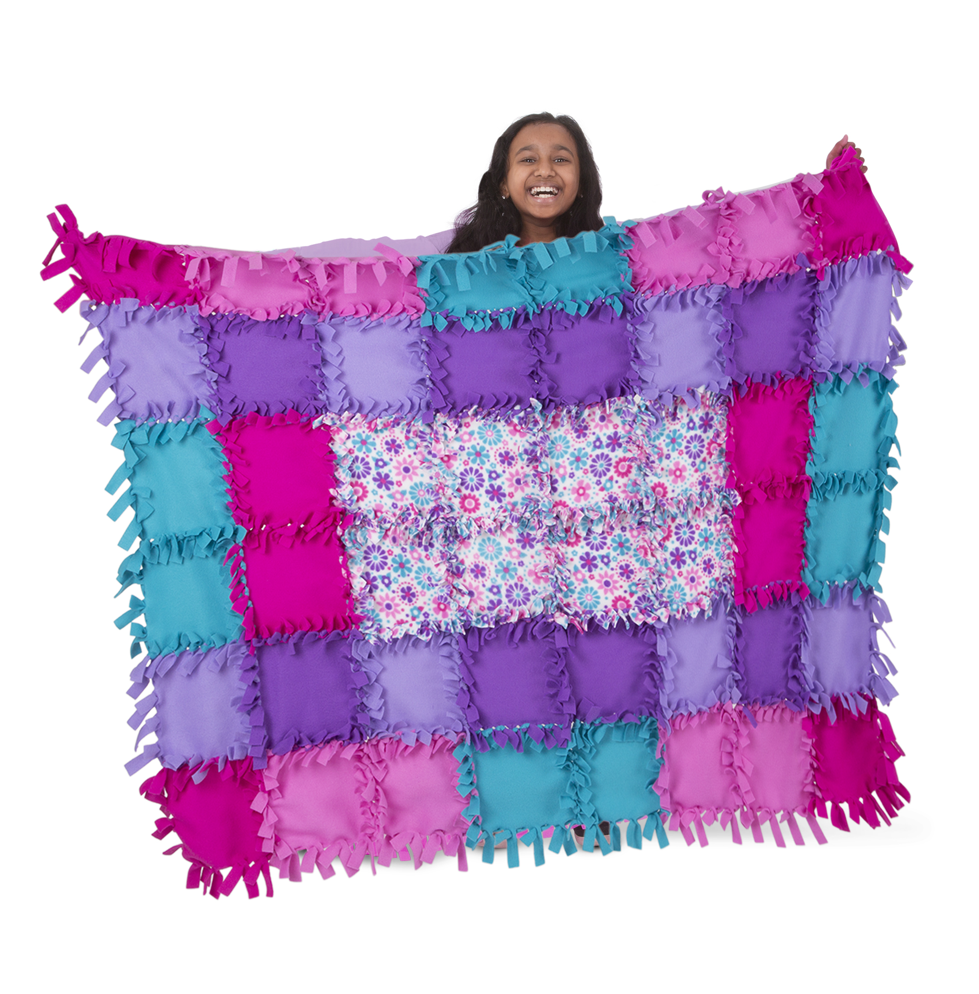 Melissa & Doug Created by Me! Flower Fleece Quilt No-Sew Craft Kit (48 squares, 4 feet x 5 feet)