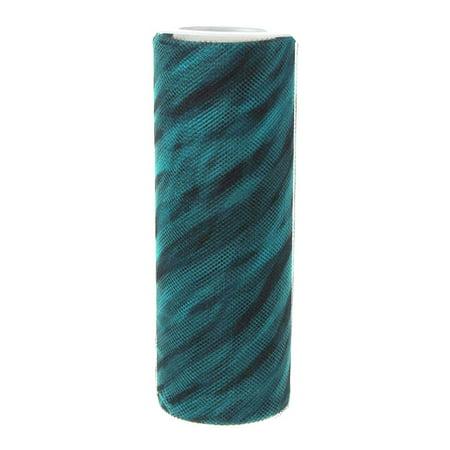 Netting Tulle Spool (Zebra Print Tulle Roll Spool, 6-Inch, 10 Yards,)