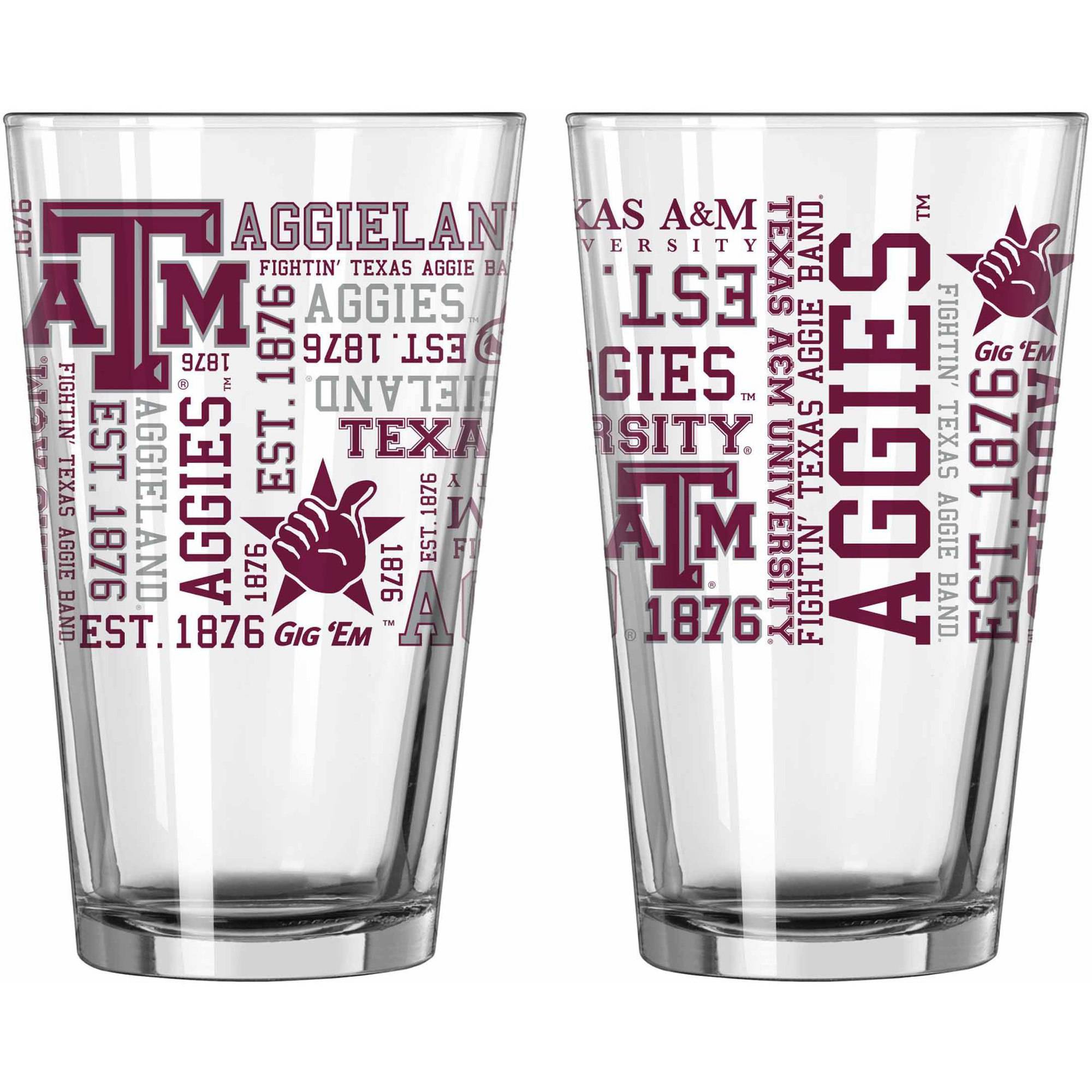 Boelter Brands NCAA Set of Two 16 Ounce Spirit Pint Glass Set, University of Texas A&M Aggies