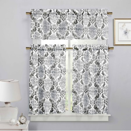 Black, White and Silver 3-Piece Sheer Window Curtain Set: Medallion Design, 2 Tiers, 1 Valance ()