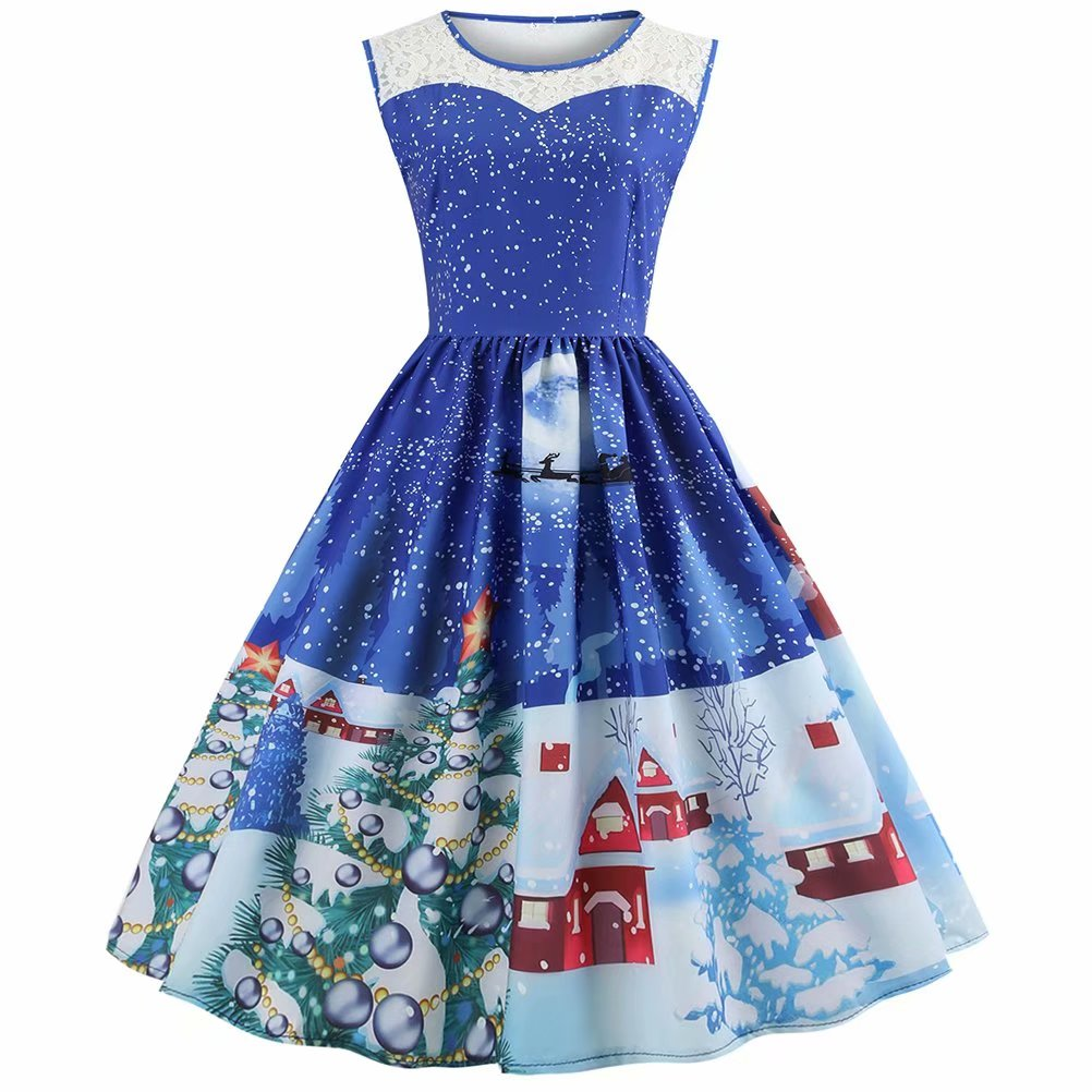 Noroomanknet Christmas Clothes for Juniors and Womens, Womens Dresses Sleveeless,Fit and Flare Dresses for Party,Blue(M-3XL)