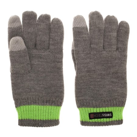 Swiss Tech Youth Charcoal Heather Acrylic Gloves with Thinsulate C40 Lining and Texting