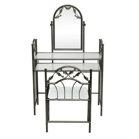 UBesGoo Mirror Vanity Set Table Stool Makeup Vintage Dresser Decor Bedroom Furniture NEW