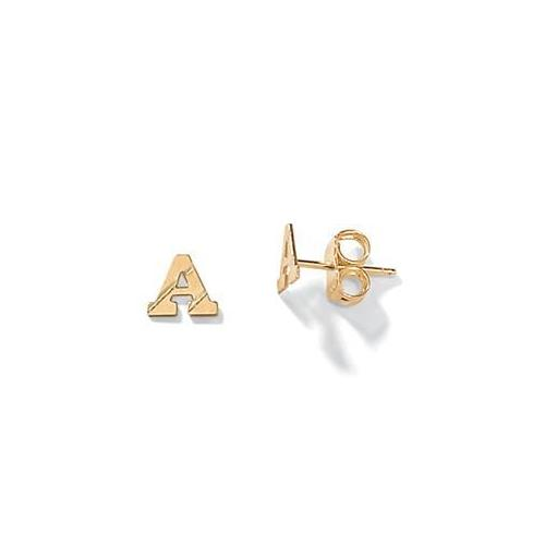 PalmBeach Jewelry 40057A Unisex 14k Yellow Gold Stud Initial Earrings - Inital A
