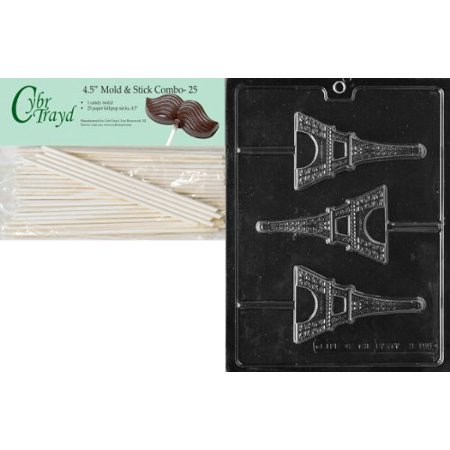 Cybrtrayd 45St25-M155 Eiffel Tower Lolly Miscellaneous Chocolate Candy Mold with 25 Cybrtrayd 4.5-Inch Lollipop Sticks