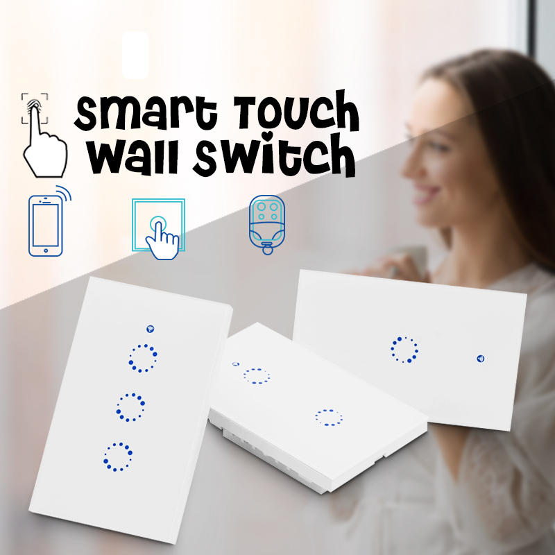 3/2/1 Gang US Smart WiFi Switch In-Wall Light Switch APP Remote Control Touch Panel Work with Amazon Alexa Google Home Timing