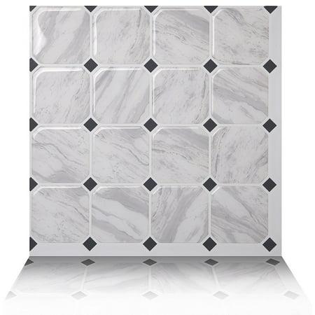 Tic Tac Tiles - Premium Anti Mold Peel and Stick Wall Tile Backsplash in Marmo White (5-Tiles) ()