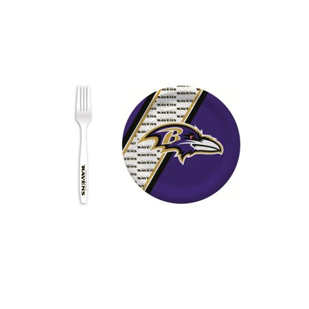 Baltimore Ravens 20 Pc Disposable Paper Plates And 20 Pc Plastic Forks (Plates Baltimore)