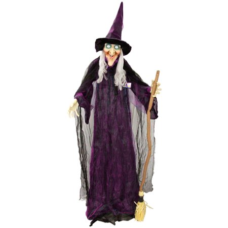 Scary Witch Faces For Halloween (Halloween Haunters 6 foot Animated Standing Scary Evil Wicked Witch Broomstick Prop Decoration - Turning Body &)