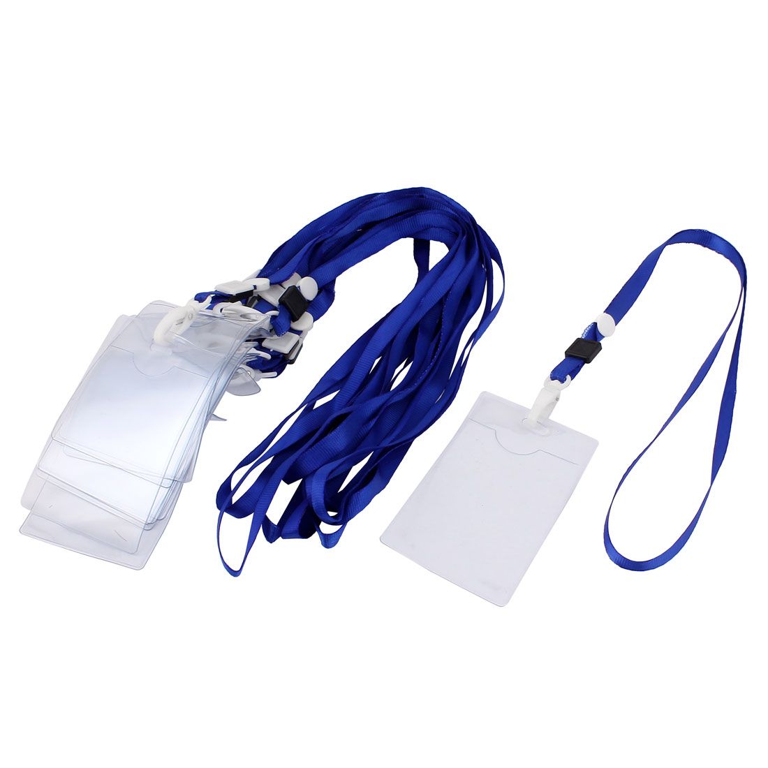 Unique Bargains 10 Pcs Plastic ID Card Holder Lanyard Name School Office Bank Students Stationery Blue w Neck Strap